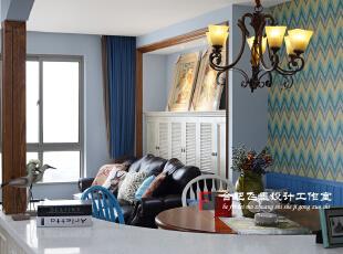 ,120平,11万,混搭,两居,白色,小资,美式,蓝色,客厅,