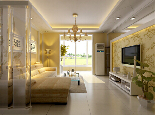 ,150平,11万,现代,三居,客厅,黄色,
