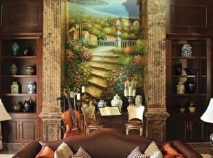 ,368平,68万,美式,别墅,客厅,原木色,