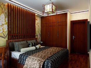 这里是主卧的设计效果,可以看到我们的衣柜是嵌入到墙体立面的哦,看上去整体感更强大。,90平,9万,中式,两居,卧室,原木色,
