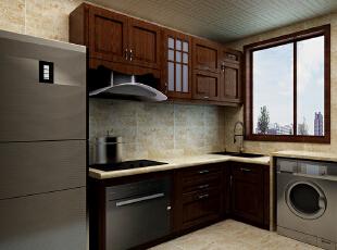 这里是厨房的整体设计效果,中式的栗色实木橱柜彰显大气,厨房摆放冰柜和洗衣机,合理利用每一寸空间。,90平,9万,中式,两居,厨房,黑白,