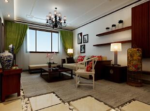 这里是客厅的装修效果展示,客厅地面采用仿石纹地砖进行铺贴。地面设计的流水槽也是非常的美感。,90平,9万,中式,两居,客厅,原木色,