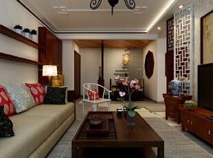 客厅和餐厅整体的设计效果展示,中国风家具红木色和白色木质家具交替摆放,让整个空间不呆板,自然流畅。,90平,9万,中式,两居,餐厅,黑白,