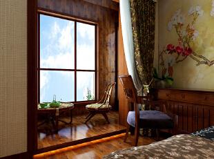 这里是主卧室的阳台位置,阳台位置铺贴木地板和仿木纹的瓷砖,这里做一个休闲区,摆放桌椅茶具,空闲的时候可以喝茶欣赏窗外的美景。,90平,9万,中式,两居,原木色,阳台,
