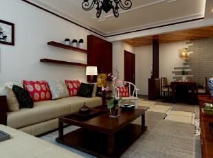 沙发墙面设计展示效果,沙发的样式、抱枕,摆件都是我们精心为业主挑选的。,90平,9万,中式,两居,客厅,原木色,