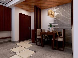 这里是玄关和餐厅的位置设计,简单的中式风格隔断将餐厅区域划分,实现了鞋柜的功能。,90平,9万,中式,两居,餐厅,原木色,