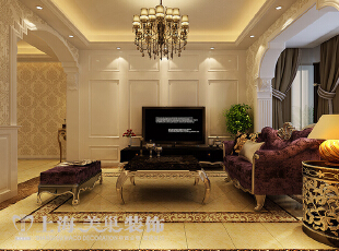 海马壹号公馆2室2厅欧式风格装修方案---电视墙装修效果图,89平,欧式,两居,客厅,电视背景墙,客厅,黄色,