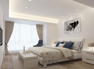 卧室的设计遵循着设计风格,非常的自然简约,除了一个卧室的标配之外的物体一只手就能数的过来。但是却没有一种空旷之感,自然简朴,清新淡雅。,400平,170万,简约,卧室,卧室,白色,