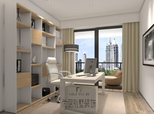 地毯、木饰面、窗帘以及布艺沙发等自然风格装饰设计给简约主义融入了新的诠释,强调形式美并给人展现一种生活方式,更接近自然,又具有功能,迎合了当代人的审美需求。,400平,170万,简约,书房,白色,