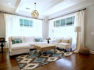 ,90平,9万,现代,两居,客厅,白色,原木色,