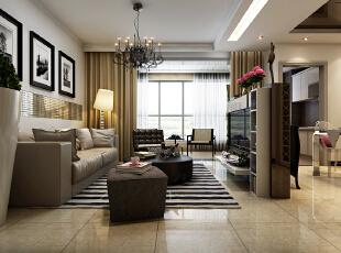 客厅整体设计效果展示,电视墙设计在餐厅和客厅中间位置,用柜子摆放制成的电视墙具备了收纳功能和隔断功能。,120平,10万,现代,三居,客厅,黑白,