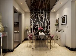 餐厅位置的设计效果,餐厅位置的设计墙面和顶面用亚克力玻璃做装点,镜面的反光很好的增强了空间感。,120平,10万,现代,三居,餐厅,黑白,