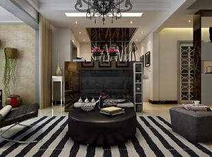 客厅的整体设计效果,茶几设计为圆形茶几摆设,现代感强烈。,120平,10万,现代,三居,客厅,黑白,