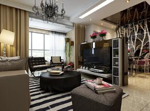 客厅展示,120平,10万,现代,三居,客厅,黑白,