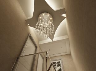 吊顶的展示效果,这里是一楼通二楼的吊顶位置的效果展示。,120平,10万,现代,三居,黑白,走廊,