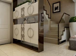 这里是入户位置的玄关柜设计效果展示,采用的是半镂空的鞋柜设计。,120平,10万,现代,三居,玄关,黑白,