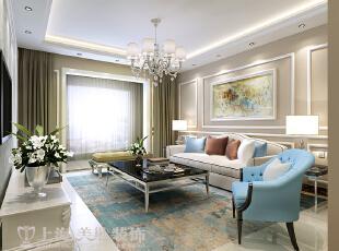 卢浮公馆简欧装修140平三室两厅样板间效果图——沙发背景墙,组画略显整体的文雅,给他人一种稳重的感觉。,140平,15万,欧式,三居,