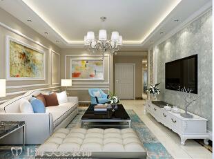 卢浮公馆140平装修简欧三室两厅效果图案例——客厅全景,140平,15万,欧式,三居,