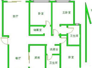 郑州卢浮公馆140平南北户型三室两厅装修简欧效果图案例——户型平面布局方案,140平,15万,欧式,三居,