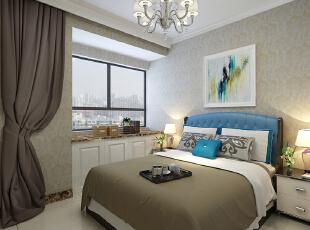 卢浮公馆140平装修简欧三室两厅样板间效果图——卧室效果图,简单的顶面处理及纯色的壁纸略显温馨。,140平,15万,欧式,三居,