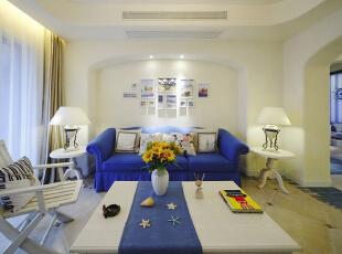 ,110平,16万,地中海,两居,客厅,白色,蓝色,