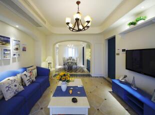 ,110平,16万,地中海,两居,客厅,蓝色,白色,
