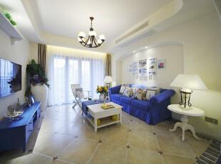 ,110平,16万,地中海,两居,客厅,白色,