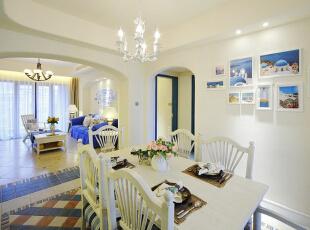,110平,16万,地中海,两居,餐厅,客厅,白色,