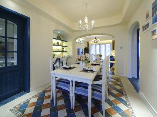 ,110平,16万,地中海,两居,餐厅,白色,蓝色,