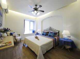 ,110平,16万,地中海,两居,卧室,白色,