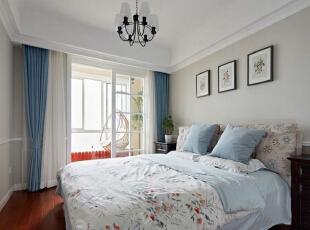 鸿博家园81平简约清新两居-卧室,81平,5万,简约,两居,卧室,白色,原木色,