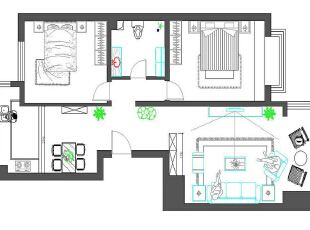 鸿博家园81平简约清新两居-平面布置图,81平,5万,简约,两居,