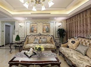 ,173平,26万,欧式,三居,客厅,白色,