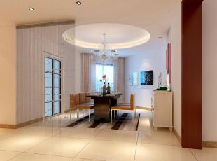 世贸维拉128平简约三居-餐厅 运用了红色的挂画,玄关竹帘,简洁吊顶搭配相得益彰,一进门便马上有了家的温暖,128平,9万,现代,两居,餐厅,简约,红色,白色,原木色,