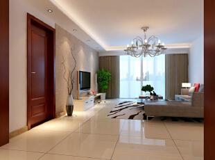 世贸维拉128平简约三居-客厅 灰色的沙发墙与电视墙相互呼应,花梨木的实木复合门更显主人的档次与品位,也 体现了主人的好客。,128平,9万,现代,两居,客厅,简约,白色,原木色,黑白,