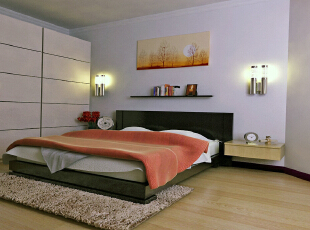 世贸维拉128平简约三居-卧室 与客厅不同,卧室大大减少了黑色的运用,淡的墙面,黄与白的家具组,都透着一种温馨的感觉,128平,9万,现代,两居,卧室,简约,白色,原木色,