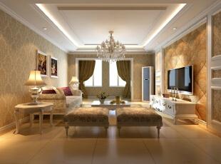 新华街三里118平欧式三居-客厅 本案设计为简欧风格,宽敞舒适的客厅配合深色地板卓显稳健,米黄色花纹壁纸的使用使空间变得柔和。欧式的灯池吊顶和地面家具相互呼应,相得益彰。卧室中运用了实木的特有色彩和碎花的沙发使整体空间温馨气氛十足。,118平,10万,欧式,三居,客厅,现代,白色,原木色,黄色,