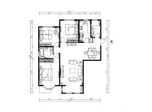 新华街三里118平欧式三居-平面布置图,118平,10万,欧式,三居,