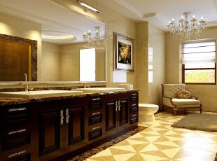 新华街三里118平欧式三居- 卫生间古典的柜体配合顶面装饰性线条及水晶灯,使卫生间变得华美整洁。,118平,10万,欧式,三居,卫生间,现代,原木色,黄色,