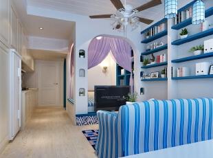 客厅,30平,地中海,一居,客厅,蓝色,白色,