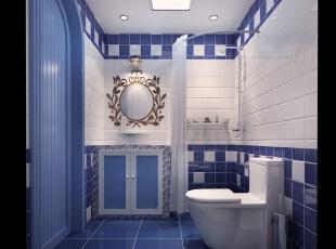 卫生间,30平,地中海,一居,卫生间,蓝色,白色,