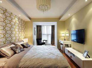 ,120平,86800万,现代,三居,卧室,黄色,
