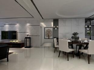 京铁家园150平极简北欧风-客厅 客厅及餐厅以黑白相间为主色调,同时利用线条令空间产生变化。,132平,9万,简约,三居,客厅,现代,白色,黑白,