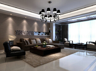 京铁家园150平极简北欧风-客厅 客厅及餐厅以黑白相间为主色调,同时利用线条令空间产生变化。,132平,9万,简约,三居,客厅,白色,黑白,