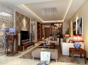 首创伊林郡新中式风格客厅,135平,12万,中式,三居,客厅,白色,