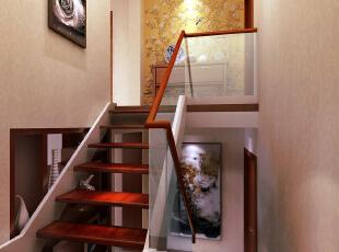 首创伊林郡新中式楼梯参考,135平,12万,中式,三居,紫色,简约,楼梯,红色,白色,