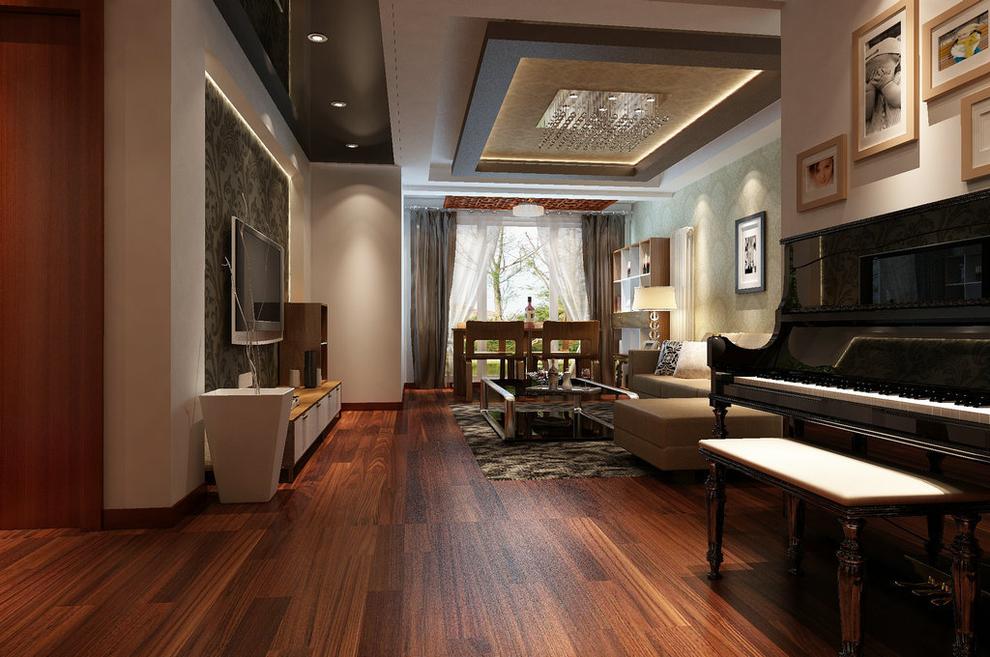 客厅配合深色地板卓显稳健,浅咖色花纹壁纸的使用使空间变得柔和.