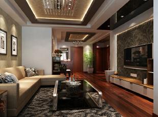五棵松115平新中式三居-客厅宽敞舒适的客厅配合深色地板卓显稳健,浅咖色花纹壁纸的使用使空间变得柔和。,115平,11万,中式,三居,客厅,原木色,红色,