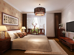 五棵松115平新中式三居-卧室 卧室中运用了色彩和碎花的沙发使整体空间温馨气氛十足。,115平,11万,中式,三居,卧室,原木色,红色,
