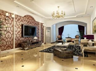 中国铁建原香漫谷138平欧式三居-客厅沙发造型是欧美的实木家具,稳重又不失简约。,138平,11万,欧式,三居,客厅,白色,原木色,